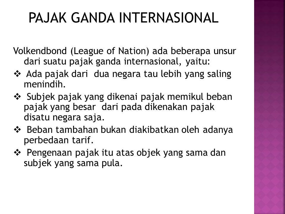 PAJAK GANDA INTERNASIONAL Volkendbond (League of Nation) ada beberapa unsur dari suatu pajak ganda internasional, yaitu:  Ada pajak dari dua negara t