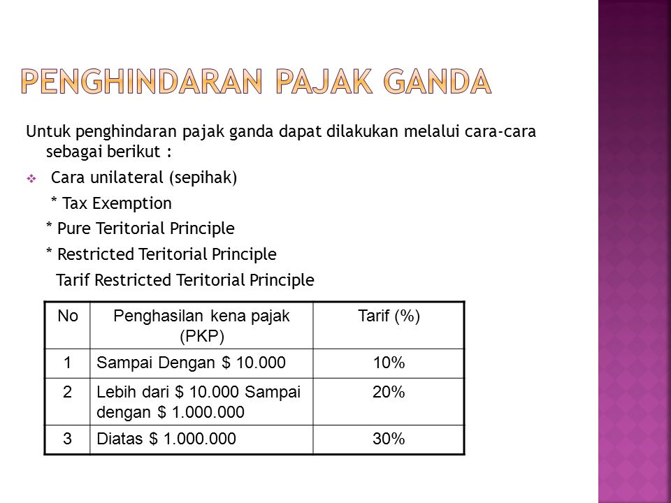 Untuk penghindaran pajak ganda dapat dilakukan melalui cara-cara sebagai berikut :  Cara unilateral (sepihak) * Tax Exemption * Pure Teritorial Princ