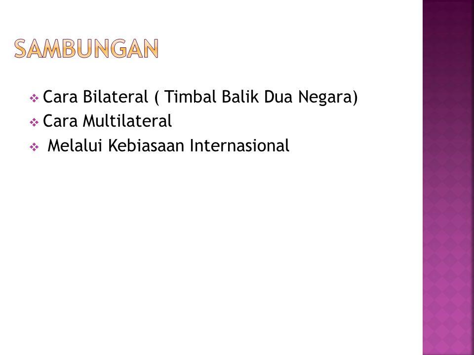  Cara Bilateral ( Timbal Balik Dua Negara)  Cara Multilateral  Melalui Kebiasaan Internasional