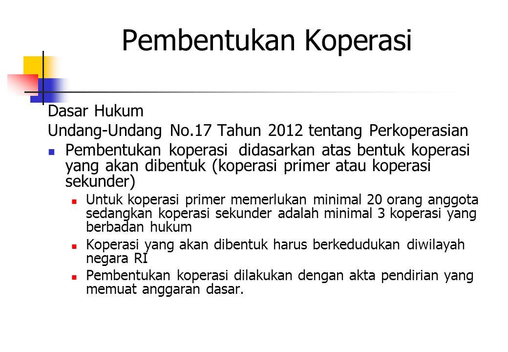 Pembentukan Koperasi Dasar Hukum Undang-Undang No.17 Tahun 2012 tentang Perkoperasian Pembentukan koperasi didasarkan atas bentuk koperasi yang akan d