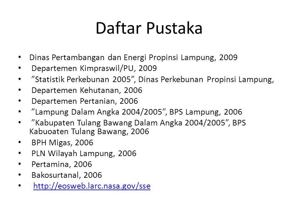 "Daftar Pustaka Dinas Pertambangan dan Energi Propinsi Lampung, 2009 Departemen Kimpraswil/PU, 2009 ""Statistik Perkebunan 2005"", Dinas Perkebunan Propi"