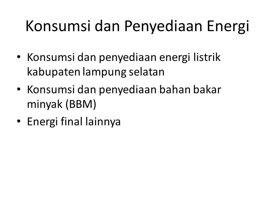 Konsumsi dan Penyediaan Energi Konsumsi dan penyediaan energi listrik kabupaten lampung selatan Konsumsi dan penyediaan bahan bakar minyak (BBM) Energ