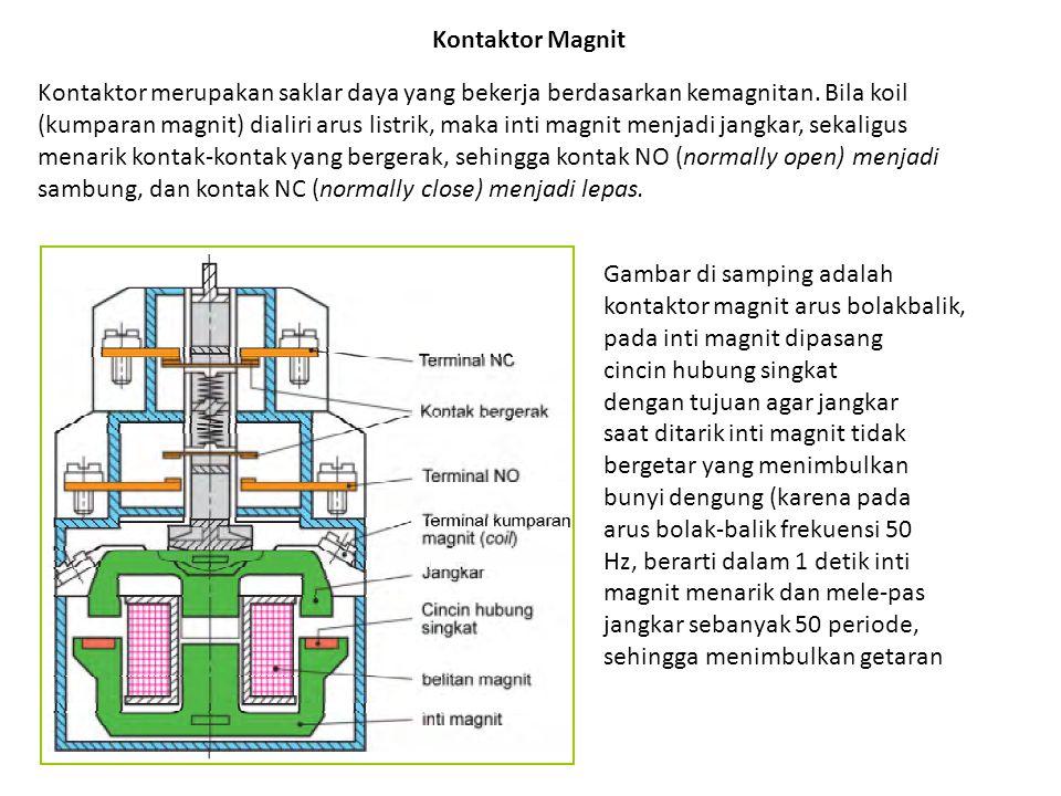 Kontaktor Magnit Kontaktor merupakan saklar daya yang bekerja berdasarkan kemagnitan. Bila koil (kumparan magnit) dialiri arus listrik, maka inti magn