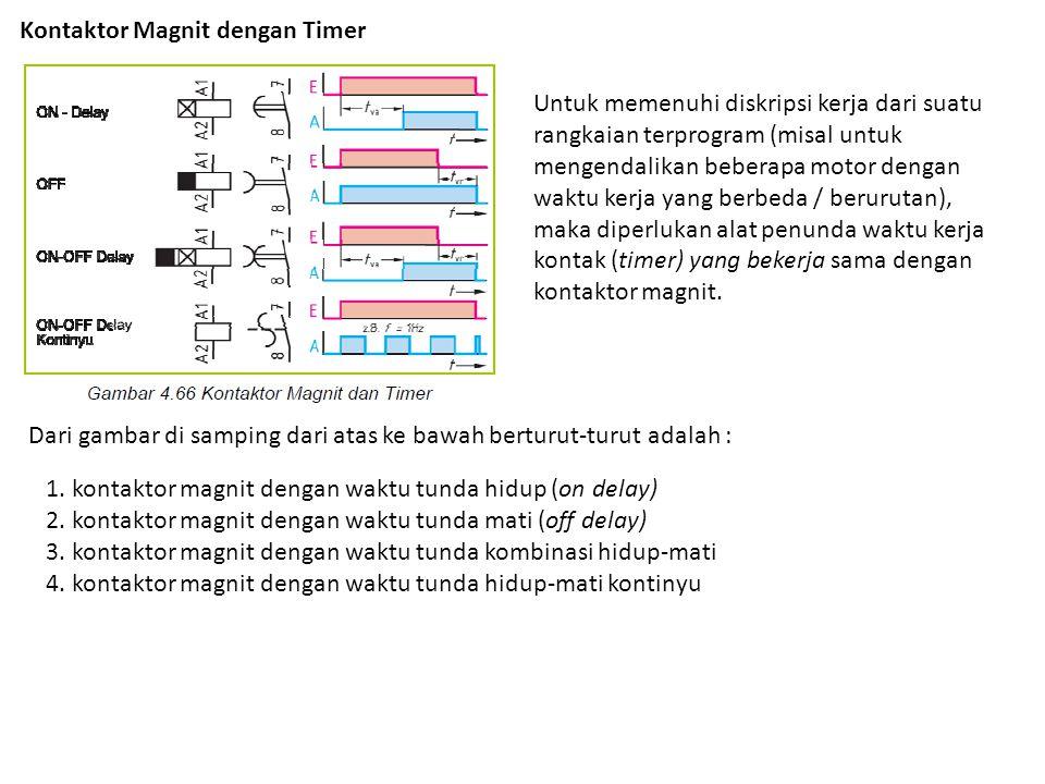 Kontaktor Magnit dengan Timer Untuk memenuhi diskripsi kerja dari suatu rangkaian terprogram (misal untuk mengendalikan beberapa motor dengan waktu ke
