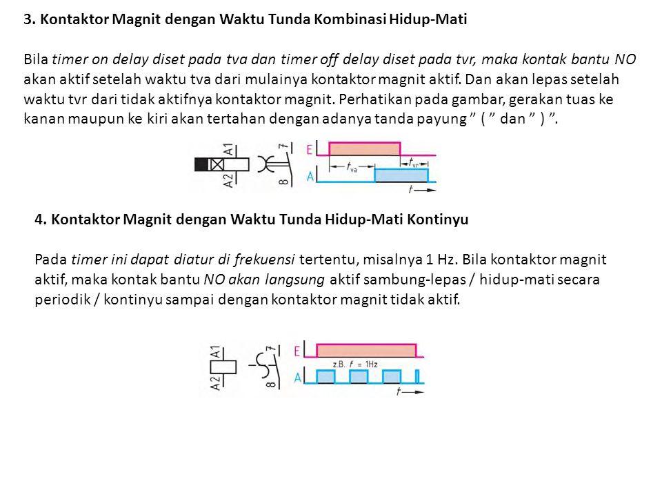 3. Kontaktor Magnit dengan Waktu Tunda Kombinasi Hidup-Mati Bila timer on delay diset pada tva dan timer off delay diset pada tvr, maka kontak bantu N