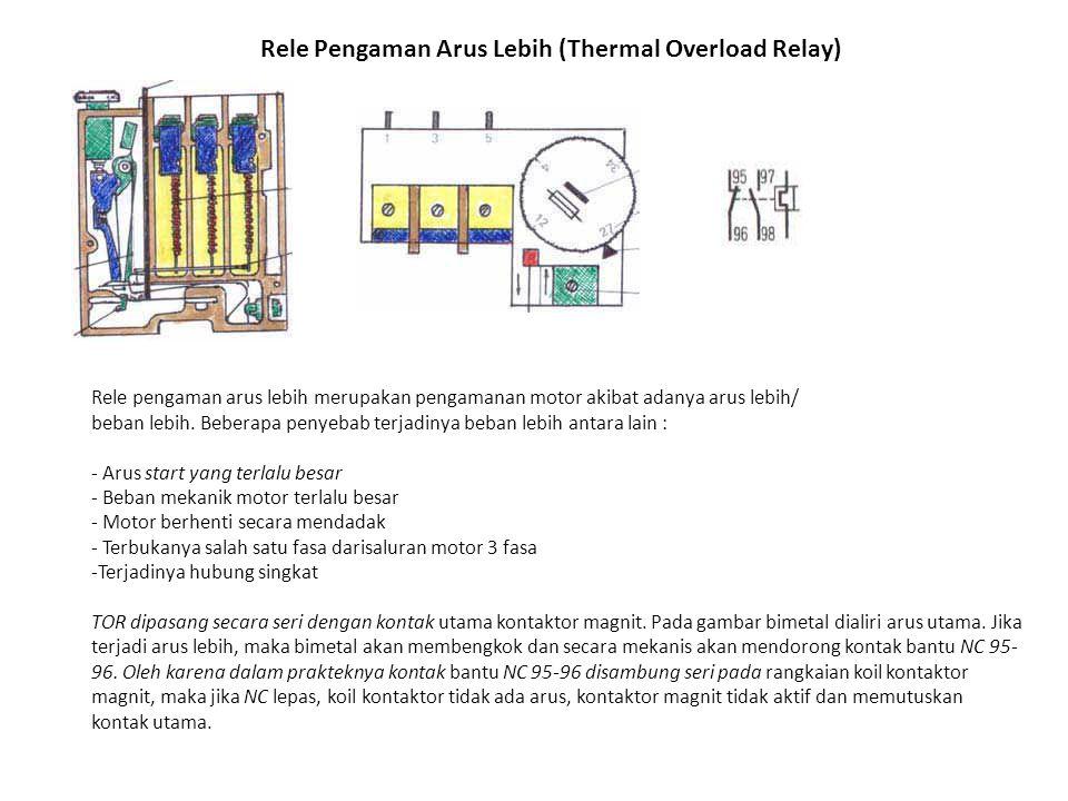 Rele Pengaman Arus Lebih (Thermal Overload Relay) Rele pengaman arus lebih merupakan pengamanan motor akibat adanya arus lebih/ beban lebih. Beberapa