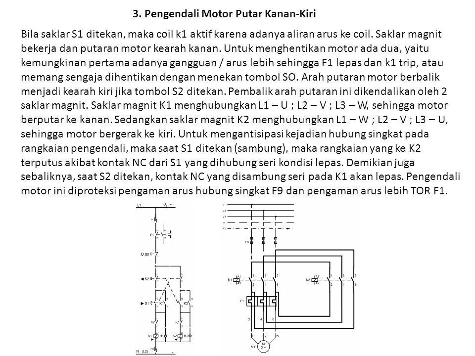 3. Pengendali Motor Putar Kanan-Kiri Bila saklar S1 ditekan, maka coil k1 aktif karena adanya aliran arus ke coil. Saklar magnit bekerja dan putaran m