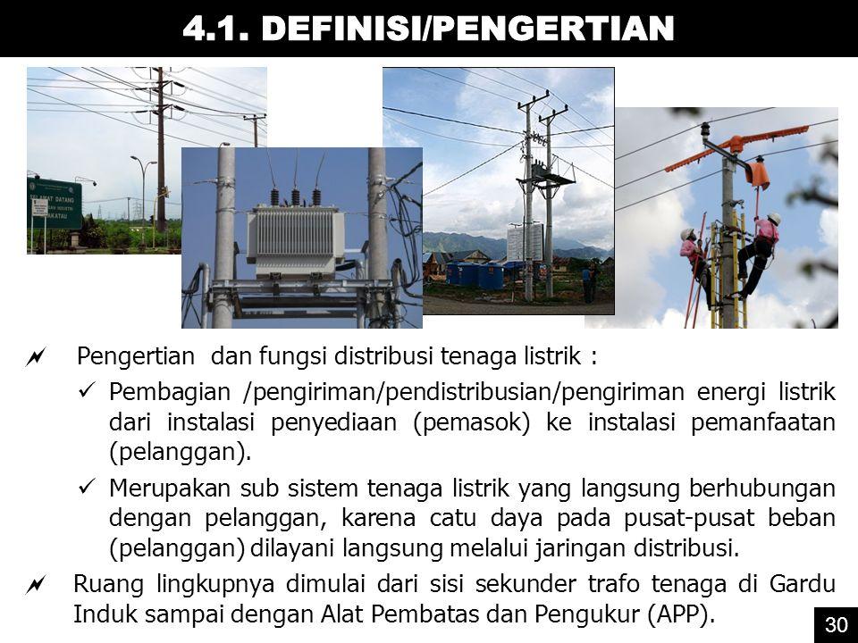  Pengertian dan fungsi distribusi tenaga listrik : Pembagian /pengiriman/pendistribusian/pengiriman energi listrik dari instalasi penyediaan (pemasok