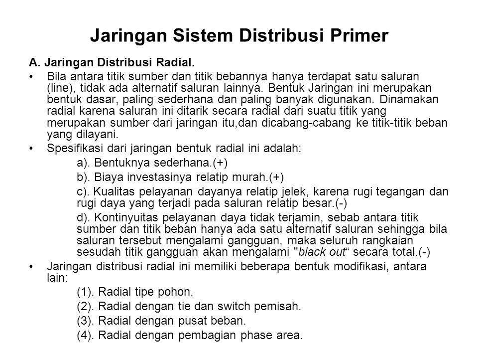 Jaringan Sistem Distribusi Primer A. Jaringan Distribusi Radial. Bila antara titik sumber dan titik bebannya hanya terdapat satu saluran (line), tidak