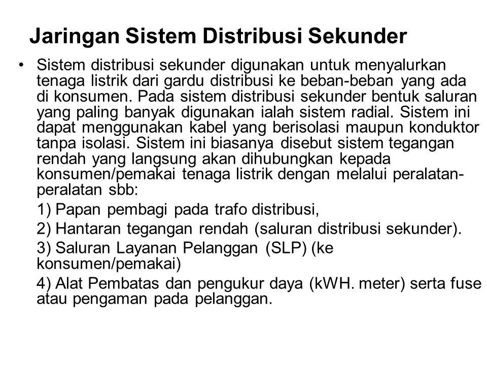 Jaringan Sistem Distribusi Sekunder Sistem distribusi sekunder digunakan untuk menyalurkan tenaga listrik dari gardu distribusi ke beban-beban yang ad
