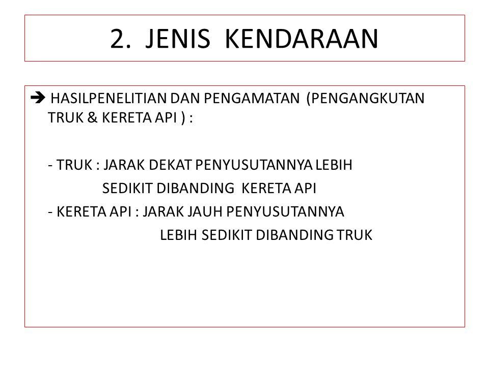 2. JENIS KENDARAAN  HASILPENELITIAN DAN PENGAMATAN (PENGANGKUTAN TRUK & KERETA API ) : - TRUK : JARAK DEKAT PENYUSUTANNYA LEBIH SEDIKIT DIBANDING KER