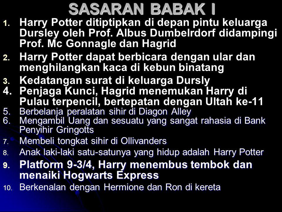 SASARAN BABAK I 1. 1. Harry Potter ditiptipkan di depan pintu keluarga Dursley oleh Prof. Albus Dumbelrdorf didampingi Prof. Mc Gonnagle dan Hagrid 2.