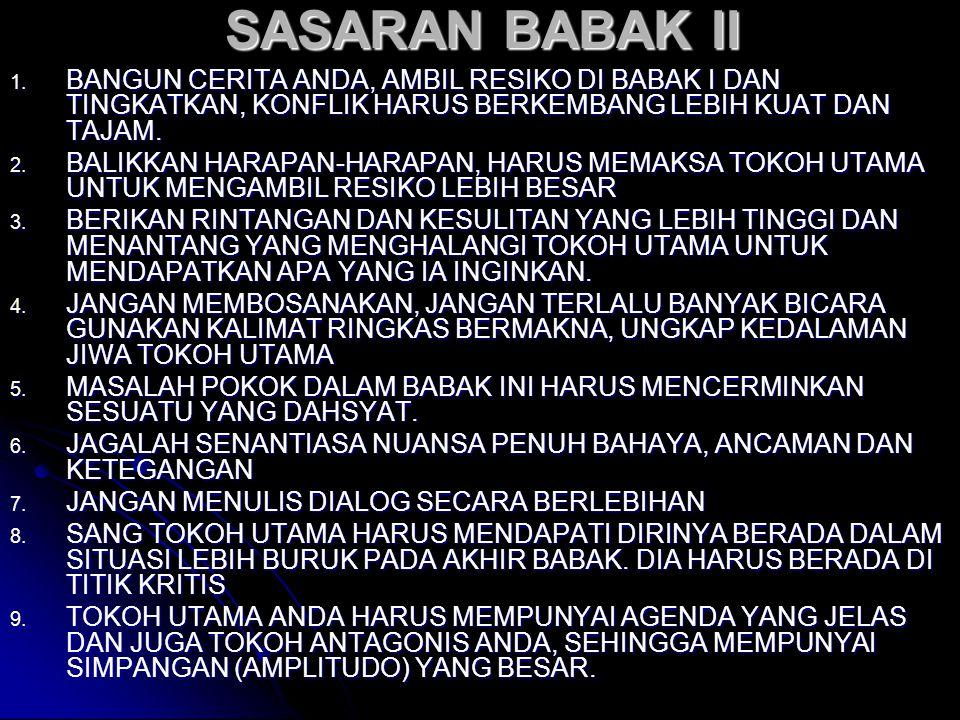 SASARAN BABAK II 1. BANGUN CERITA ANDA, AMBIL RESIKO DI BABAK I DAN TINGKATKAN, KONFLIK HARUS BERKEMBANG LEBIH KUAT DAN TAJAM. 2. BALIKKAN HARAPAN-HAR