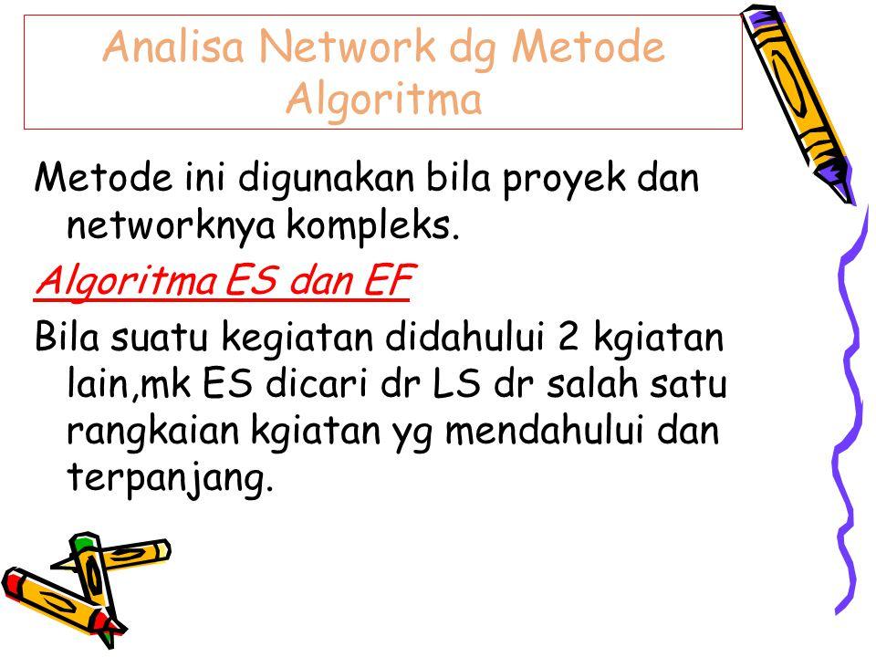 Analisa Network dg Metode Algoritma Metode ini digunakan bila proyek dan networknya kompleks. Algoritma ES dan EF Bila suatu kegiatan didahului 2 kgia