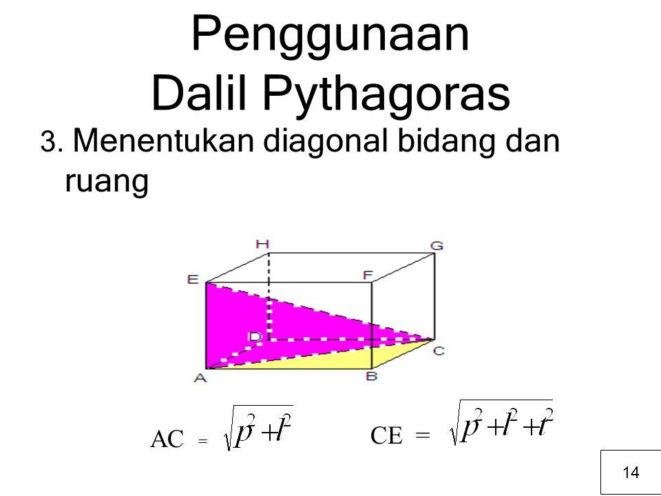 Penggunaan Dalil Pythagoras 3. Menentukan diagonal bidang dan ruang AC = CE = 14