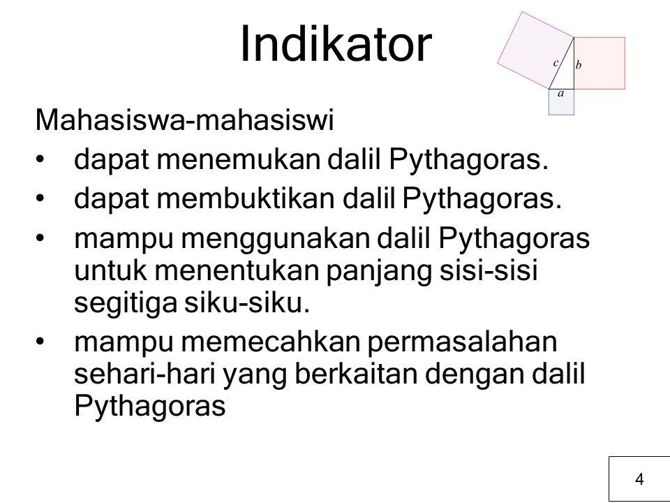 Indikator Mahasiswa-mahasiswi dapat menemukan dalil Pythagoras. dapat membuktikan dalil Pythagoras. mampu menggunakan dalil Pythagoras untuk menentuka