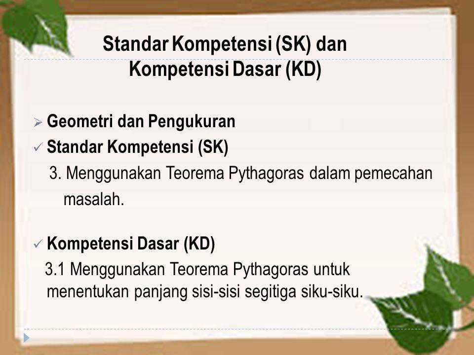 Standar Kompetensi (SK) dan Kompetensi Dasar (KD)  Geometri dan Pengukuran Standar Kompetensi (SK) 3. Menggunakan Teorema Pythagoras dalam pemecahan