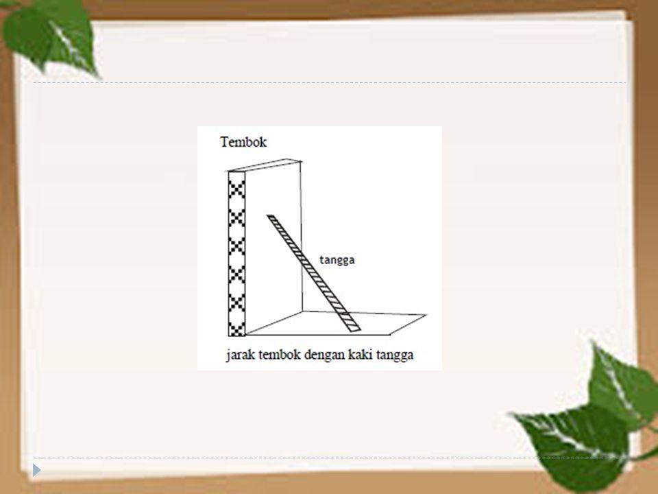 Dari gambar disamping, diketahui panjang tangga dari kaki tangga ke pangkal tangga yang menyentuh tembok adalah 1,5 m.