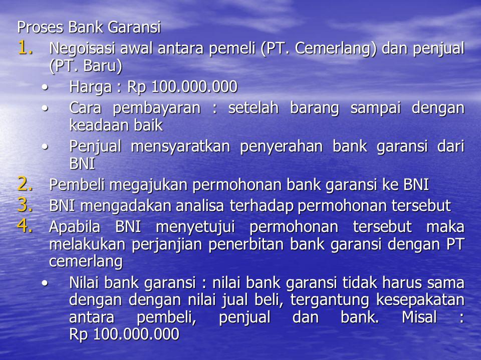 Proses Bank Garansi 1. Negoisasi awal antara pemeli (PT. Cemerlang) dan penjual (PT. Baru) Harga : Rp 100.000.000Harga : Rp 100.000.000 Cara pembayara