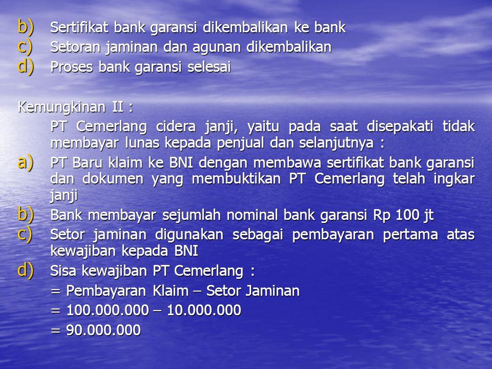 b) Sertifikat bank garansi dikembalikan ke bank c) Setoran jaminan dan agunan dikembalikan d) Proses bank garansi selesai Kemungkinan II : PT Cemerlan