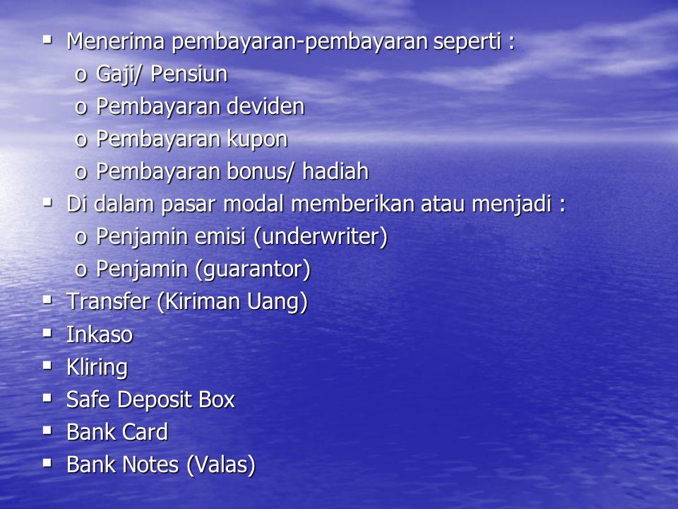  Bank Garansi  Referensi Bank  Bank Draf  Letter Of Credit (L/C)  Cek Wisata (Travellers cheque)  Jual Beli Surat-surat Berharga  Dan jasa lainnya 2.