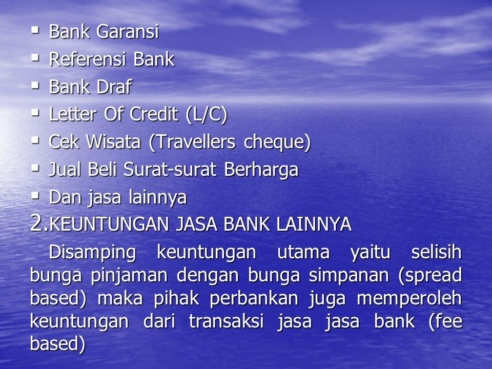  Bank Garansi  Referensi Bank  Bank Draf  Letter Of Credit (L/C)  Cek Wisata (Travellers cheque)  Jual Beli Surat-surat Berharga  Dan jasa lain