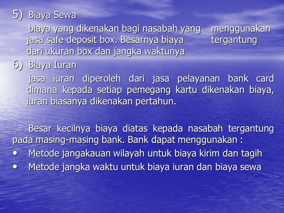 5) Biaya Sewa biaya yang dikenakan bagi nasabah yang menggunakan jasa safe deposit box. Besarnya biaya tergantung dari ukuran box dan jangka waktunya