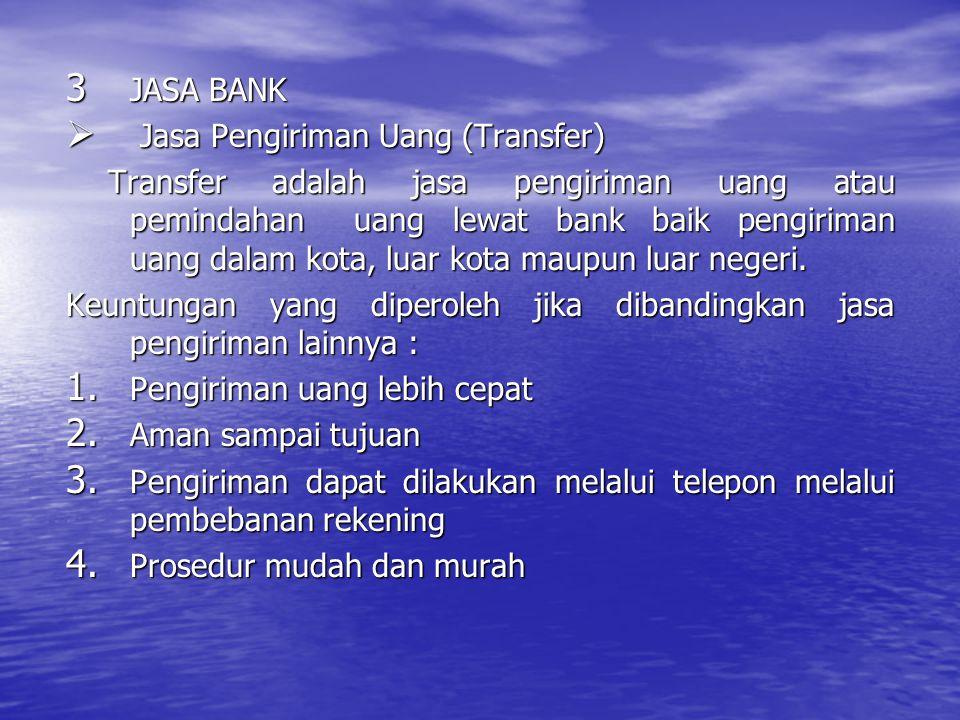 3 JASA BANK  Jasa Pengiriman Uang (Transfer) Transfer adalah jasa pengiriman uang atau pemindahan uang lewat bank baik pengiriman uang dalam kota, lu