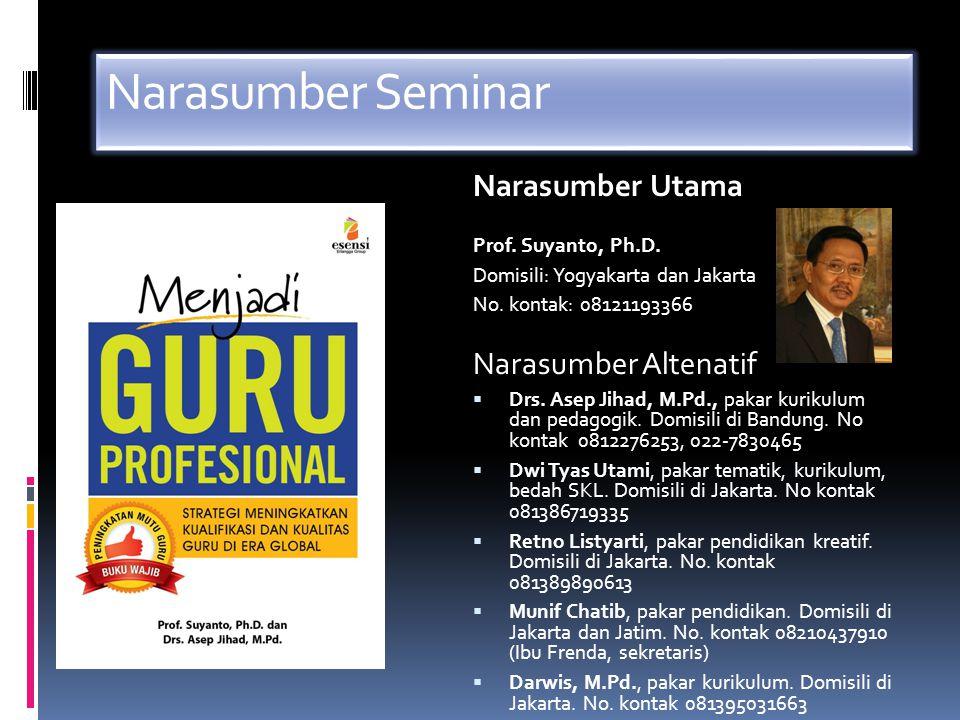 Narasumber Seminar Narasumber Utama Prof. Suyanto, Ph.D. Domisili: Yogyakarta dan Jakarta No. kontak: 08121193366 Narasumber Altenatif  Drs. Asep Jih
