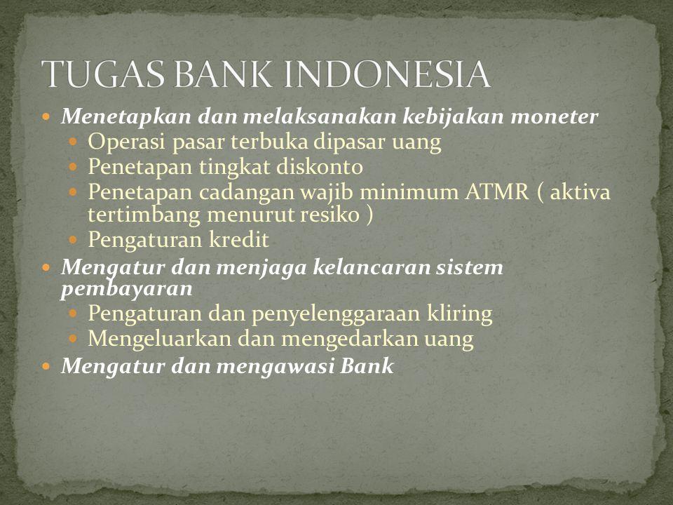 Menetapkan dan melaksanakan kebijakan moneter Operasi pasar terbuka dipasar uang Penetapan tingkat diskonto Penetapan cadangan wajib minimum ATMR ( ak