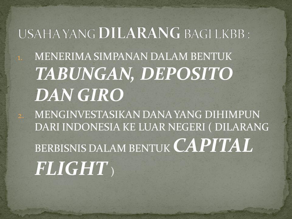 1. MENERIMA SIMPANAN DALAM BENTUK TABUNGAN, DEPOSITO DAN GIRO 2. MENGINVESTASIKAN DANA YANG DIHIMPUN DARI INDONESIA KE LUAR NEGERI ( DILARANG BERBISNI