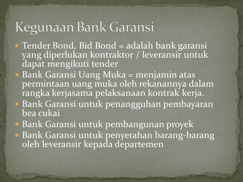 Tender Bond, Bid Bond = adalah bank garansi yang diperlukan kontraktor / leveransir untuk dapat mengikuti tender Bank Garansi Uang Muka = menjamin ata