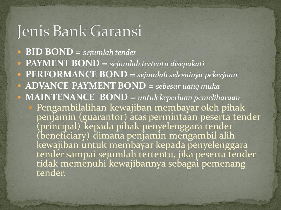 BID BOND = sejumlah tender PAYMENT BOND = sejumlah tertentu disepakati PERFORMANCE BOND = sejumlah selesainya pekerjaan ADVANCE PAYMENT BOND = sebesar