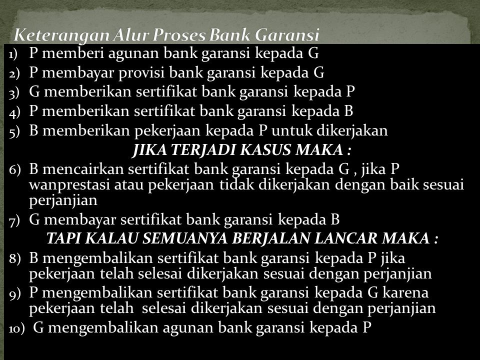 1) P memberi agunan bank garansi kepada G 2) P membayar provisi bank garansi kepada G 3) G memberikan sertifikat bank garansi kepada P 4) P memberikan
