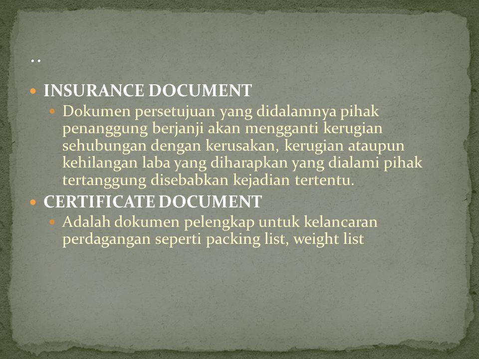 INSURANCE DOCUMENT Dokumen persetujuan yang didalamnya pihak penanggung berjanji akan mengganti kerugian sehubungan dengan kerusakan, kerugian ataupun