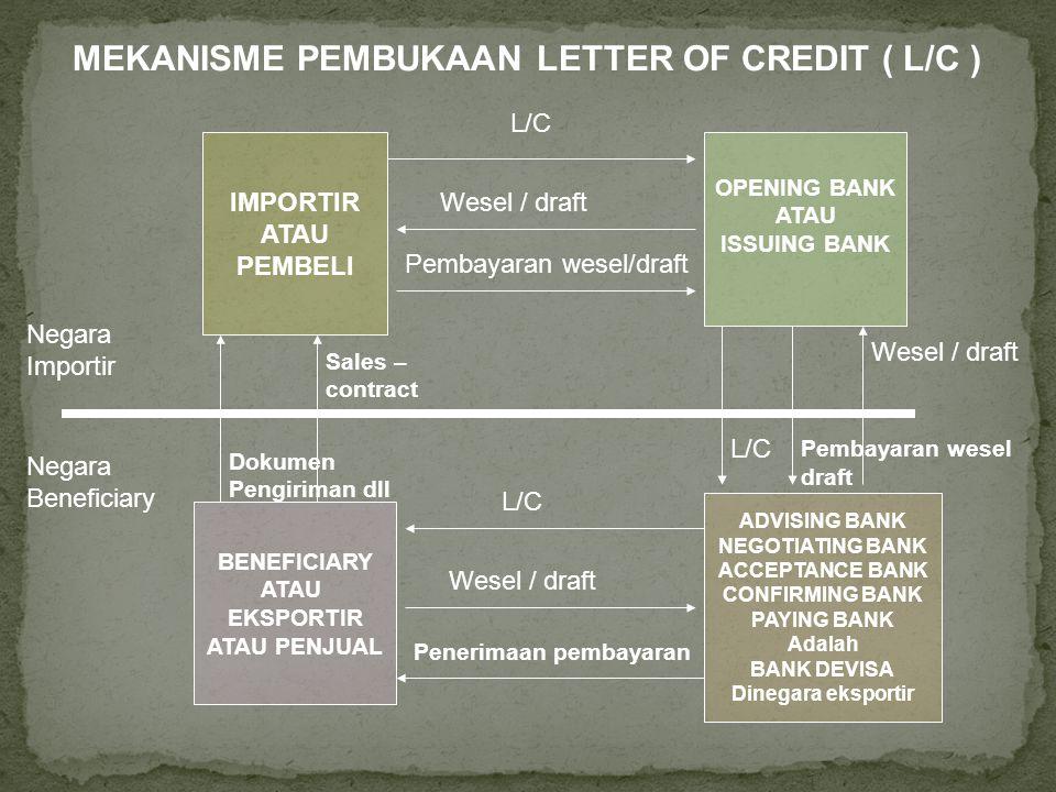 IMPORTIR ATAU PEMBELI OPENING BANK ATAU ISSUING BANK BENEFICIARY ATAU EKSPORTIR ATAU PENJUAL ADVISING BANK NEGOTIATING BANK ACCEPTANCE BANK CONFIRMING