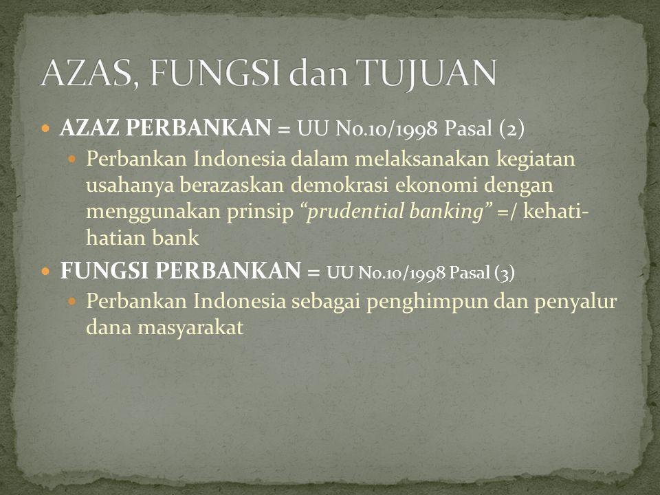 TUJUAN PERBANKAN = UU No.10/1998 Pasal (4) Perbankan Indonesia bertujuan menunjang pelaksanaan pembangunan nasional dalam rangka meningkatkan pemerataan, pertumbuhan ekonomi dan stabilitas nasional ke arah peningkatan rakyat banyak