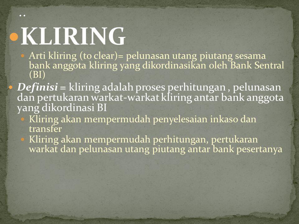 KLIRING Arti kliring (to clear)= pelunasan utang piutang sesama bank anggota kliring yang dikordinasikan oleh Bank Sentral (BI) Definisi = kliring ada