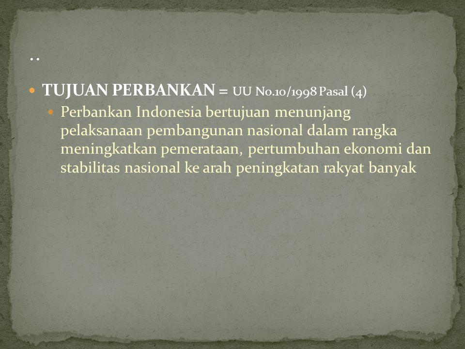 TUJUAN PERBANKAN = UU No.10/1998 Pasal (4) Perbankan Indonesia bertujuan menunjang pelaksanaan pembangunan nasional dalam rangka meningkatkan pemerata