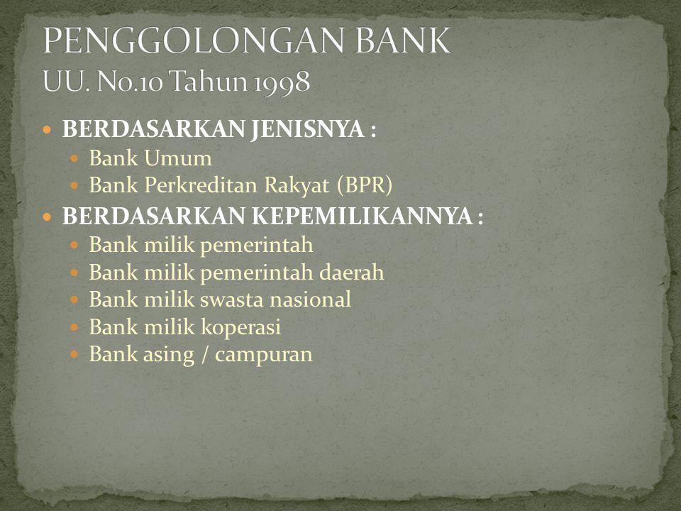BERDASARKAN BENTUK HUKUM : Bank Perusahaan Daerah Bank Persero Bank Perseroan Terbatas Bank Koperasi BERDASARKAN KEGIATAN USAHA : Bank Devisa Bank Bukan Devisa BERDASARKAN PEMBAYARAN JASA : Bank berdasarkan pembayaran bunga Bank berdasarkan pembayaran bagi hasil keuntungan