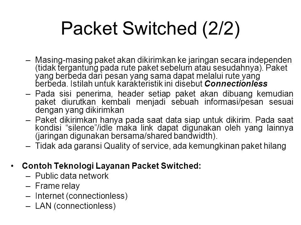 Packet Switched (2/2) –Masing-masing paket akan dikirimkan ke jaringan secara independen (tidak tergantung pada rute paket sebelum atau sesudahnya). P