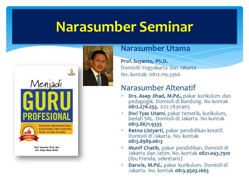 Narasumber Utama Prof.Suyanto, Ph.D. Domisili: Yogyakarta dan Jakarta No.