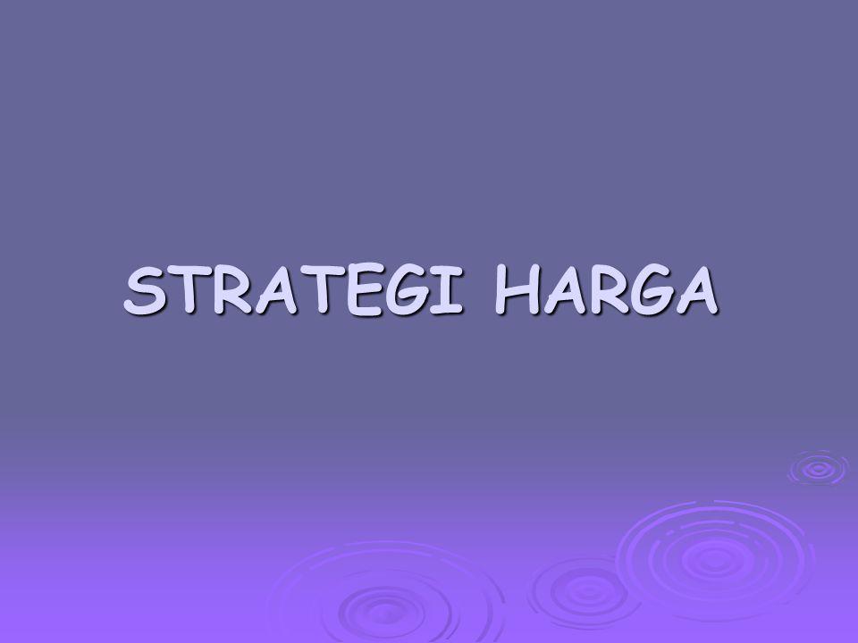 Peran Strategi dalam Harga  Harga dalam strategi positioning Pemilihan strategi mengenai target pasar, produk dan distribusi menjadi pedoman untuk menetapkan strategi harga.