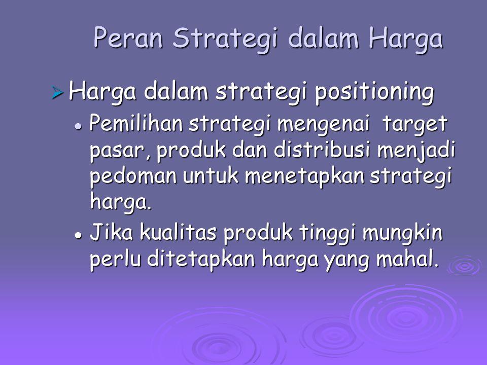 Peran Strategi dalam Harga  Harga dalam strategi positioning Perusahan memerlukan laba untuk membayar fungsi-fungsi perantara dan menawarkan insentif secukupnya untuk kerja sama dengan perantara.