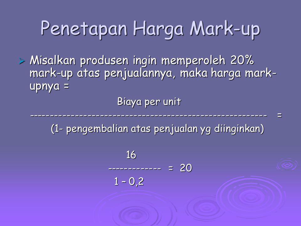 Penetapan Harga Mark-up  Misalkan produsen ingin memperoleh 20% mark-up atas penjualannya, maka harga mark- upnya = Biaya per unit Biaya per unit ---