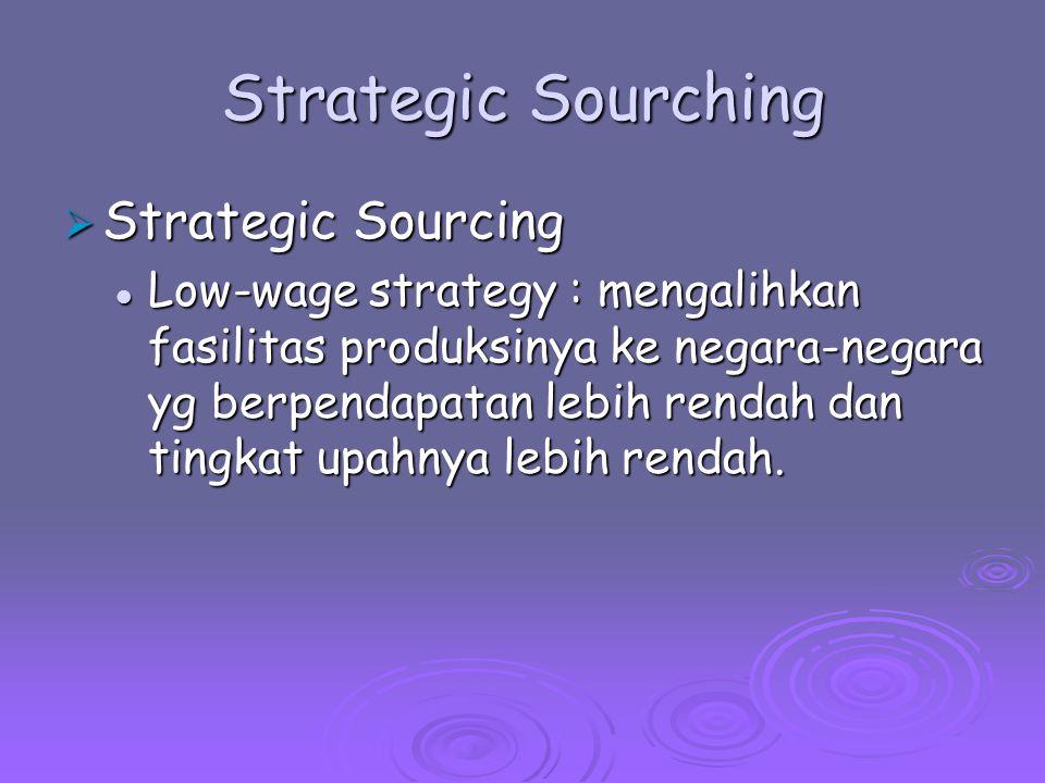 Strategic Sourching  Strategic Sourcing Low-wage strategy : mengalihkan fasilitas produksinya ke negara-negara yg berpendapatan lebih rendah dan ting