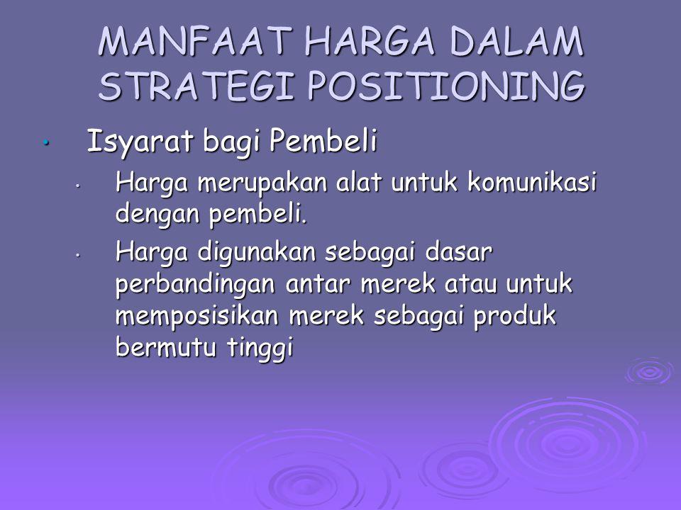 MANFAAT HARGA DALAM STRATEGI POSITIONING Instrumen Persaingan Instrumen Persaingan Harga merupakan cara untuk menyerang pesaing.