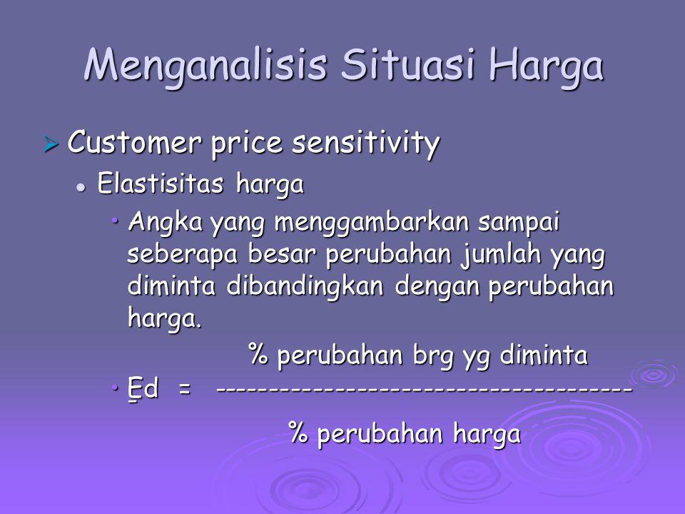 Menganalisis Situasi Harga  Customer price sensitivity Elastisitas harga (Ed) Elastisitas harga (Ed) Jika Ed > 1, persentase perubahan quantitas lebih besar dari pada persentase perubahan harga.
