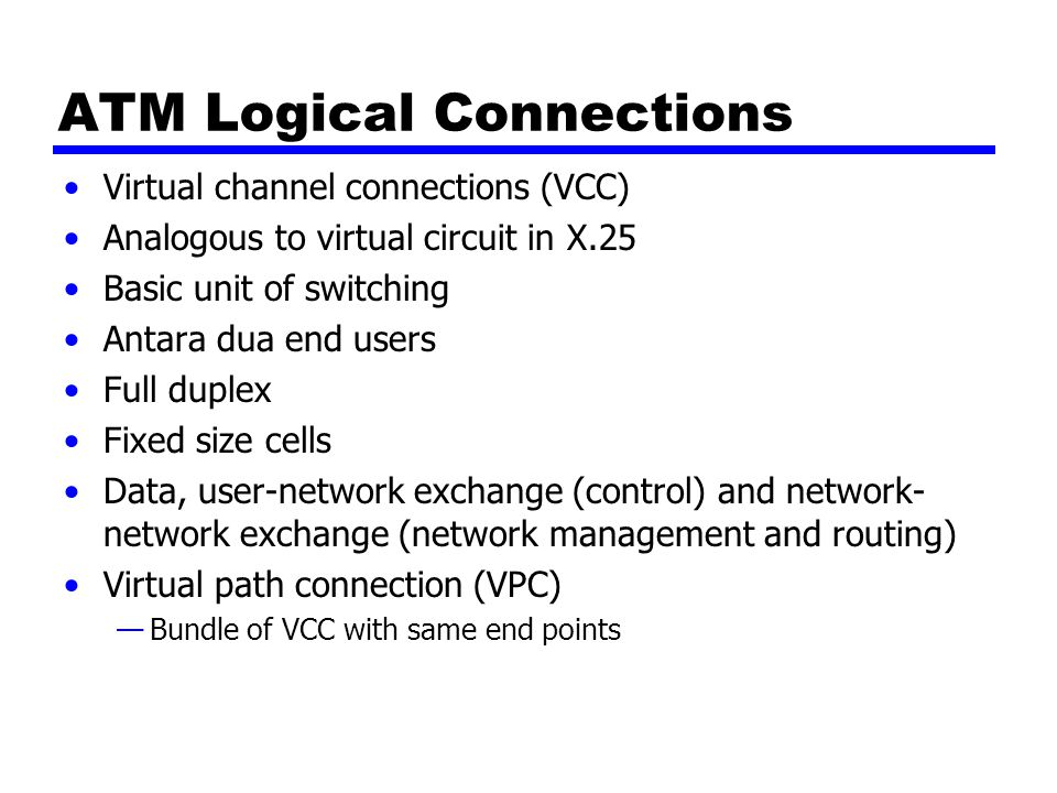 ATM Logical Connections Virtual channel connections (VCC) Analogous to virtual circuit in X.25 Basic unit of switching Antara dua end users Full duple