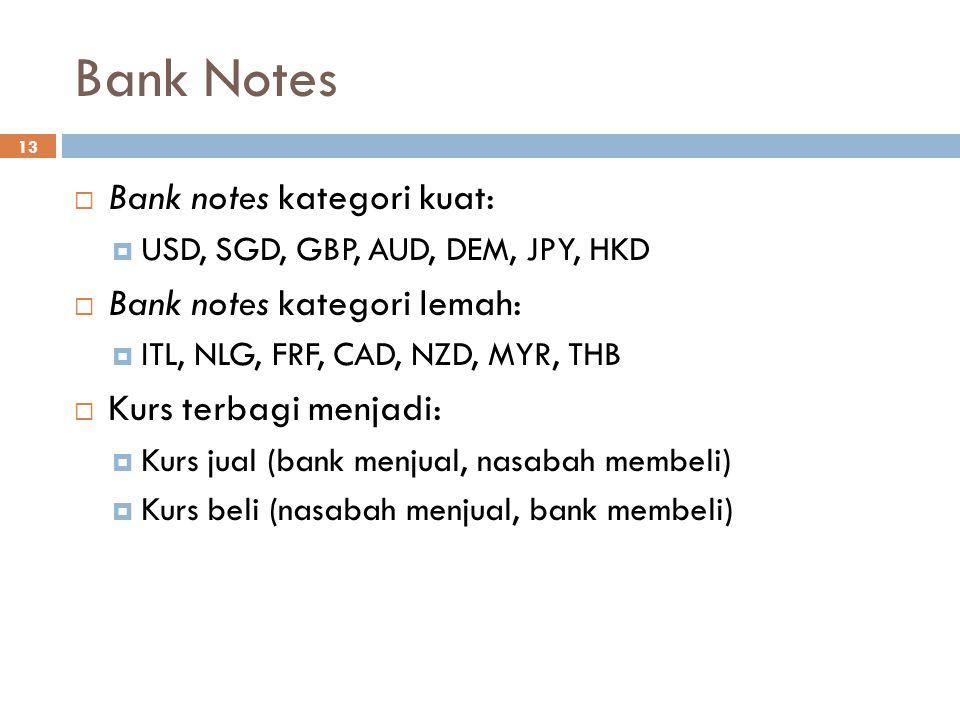 Bank Notes 13  Bank notes kategori kuat:  USD, SGD, GBP, AUD, DEM, JPY, HKD  Bank notes kategori lemah:  ITL, NLG, FRF, CAD, NZD, MYR, THB  Kurs